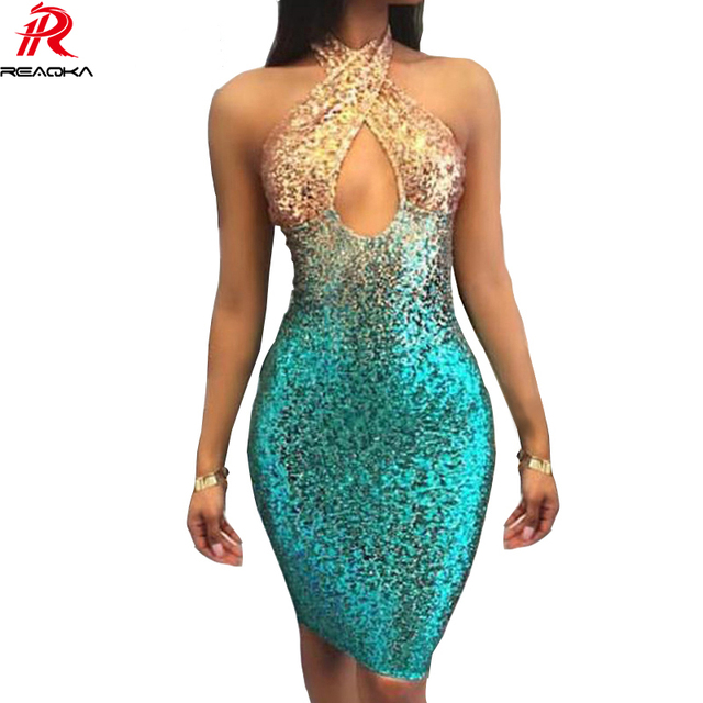 Reaqka Sexy Backless Chic Sequins Summer Dress 2018 New Sleeveless Mult Colors Bodycon Party Dresses Halter Clubwear Vestidos