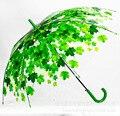 4 Cores Folhas Longo Guarda-chuva Transparente Frete Grátis Parasol Umbrella Sun Chuva Umbrella Como presente da novidade Mulheres Paraguas Clara