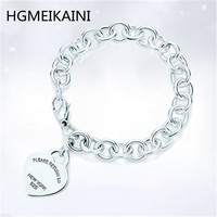 TIFF100%925 sterling silver 1:1 real charm classic sign of heart shaped silver ms rose gold bracelet DIY bracelet gift