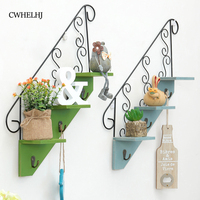 Vintage Wood Wall Hanging Storage Hooks Bedroom Decoration Wooden Flower Pot Trapezoid Storage Racks Wall Clothes