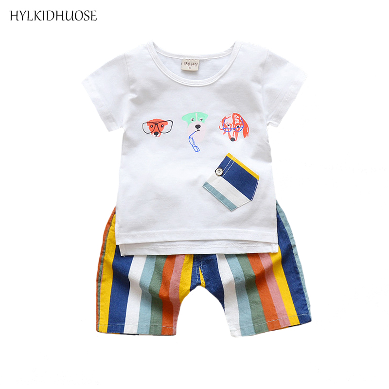 HYLKIDHUOSE Summer Baby Boys Clothing Sets Infant Cotton Suits Cartoon Dog T Shirt Rainbow Color Shorts Children Kids Suits boy summer clothing characters batman ninja ninjago lepin children cotton t shirt suits baby boys kids shorts jeans sport sets