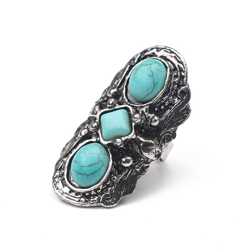 CWEEL Finger Rings For Women Vintage Big Wedding Green Stone Bohemian Statement Ring Knuckle Antique Silver Color Jewelry