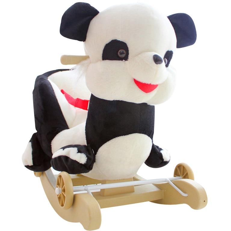 Kingtoy Plush Baby Rocking Swing Panda Chair Children Wood Swing Seat Kids Outdoor Ride on Stroller Toy
