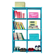 8 Grids Simple Non woven Bookshelves Cloth Book Shelf Creative Printing Home Decoration Childrens Bookcase Small Library