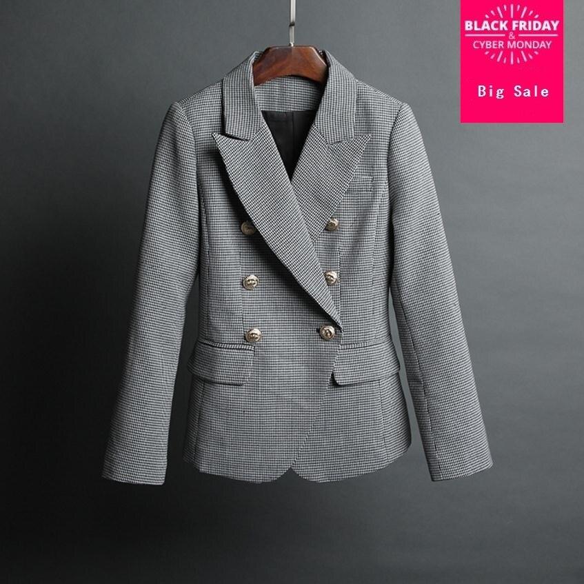 2018 frühling Neue mode Koreanische Dünne metall tasten plaid blazer anzug frauen einfache und stilvolle zweireiher Blazer Anzüge wj1920
