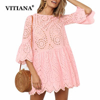VITIANA Women Casual Beach Dress 100 Cotton Female 2018 Summer Hollow Out White Pink Blue Loose