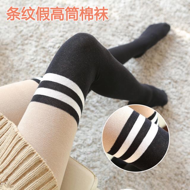 Moda Tubo de Algodón Gruesa Mujer de Rayas Fake Muslo Rodilla Panti Alta Calidad Otoño Invierno Medias Caliente
