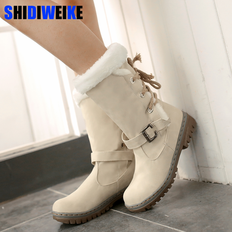 Fashion Cotton Boots Winter Women Mid-calf Boots with Fur Leather Lace Up Ladies Shoes Plus Size 34-43 Snow Boots n225 trendy women s mid calf boots with lace up and rhinestones design