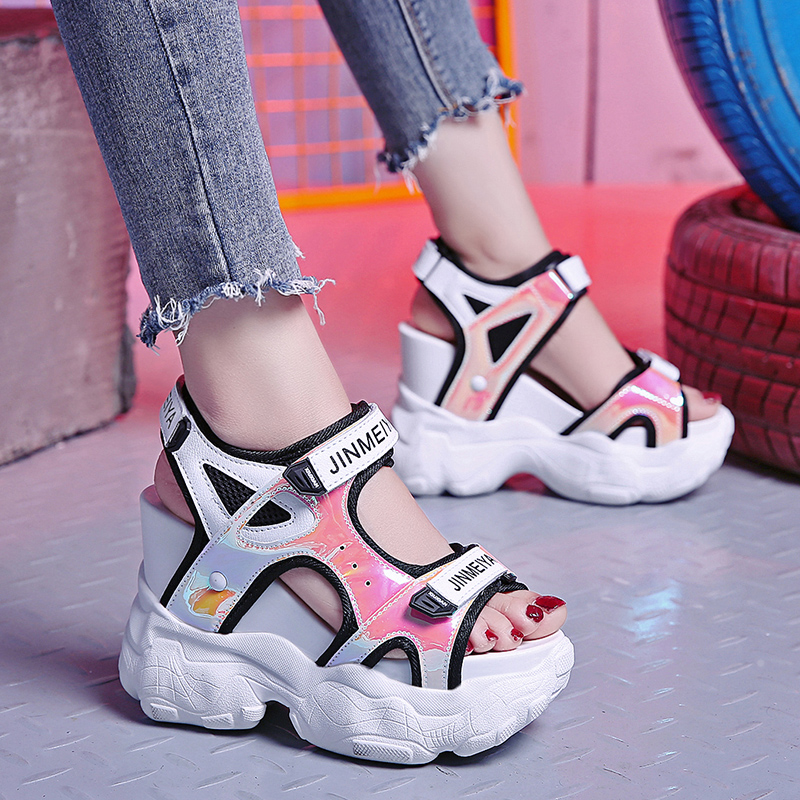 DHCHBJ 2019 Summer Sneakers Sandals Peep-toe Wedge Heels