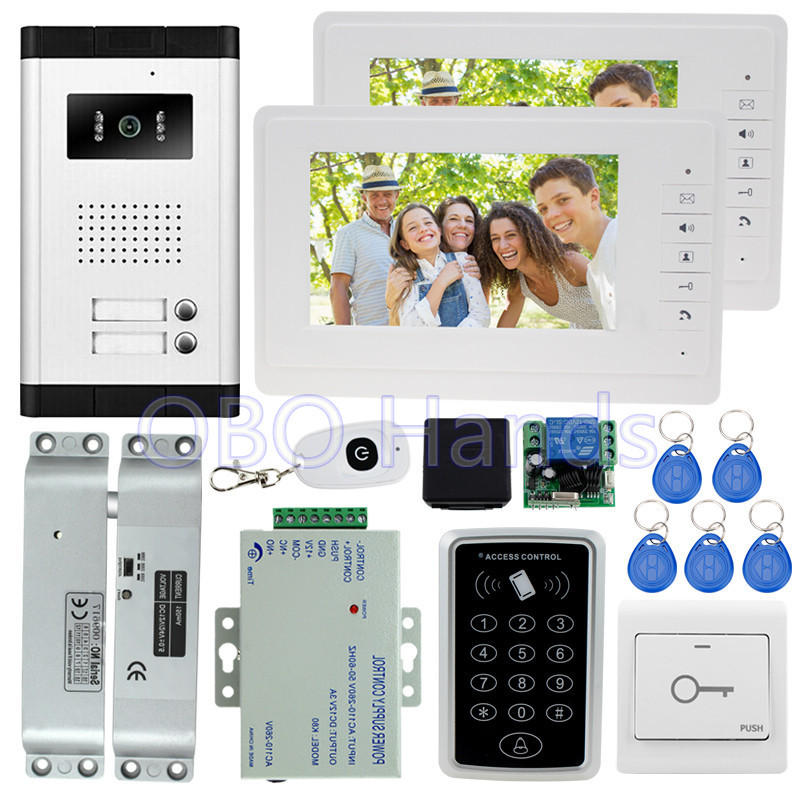 7'' wired color video door phone intercom system kit set with RFID access control keypad+5 keys+2 monitors+EM lock for apartment 4 3inch color screen video door phone 2 monitors keypad access control system video intercom for an apartment ir night vision