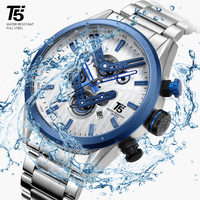 Rose Gold Men Black T5 Quartz Chronograph Man Waterproof Skeleton Luxury Mens Watch Watches Relogio Masculino Wristwatch