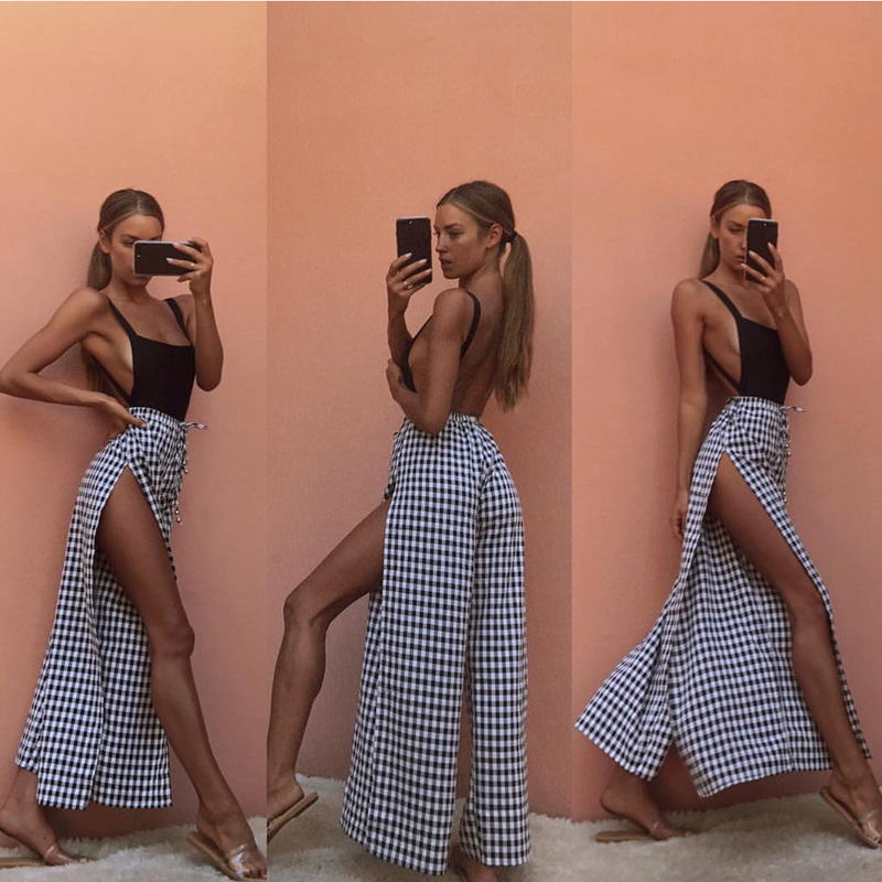 Trousers Women Wide Leg Pants Palazzo Summer Clothes 2019 Loose Ladies Beach Holiday Cool Side Opening Black Pink 0049