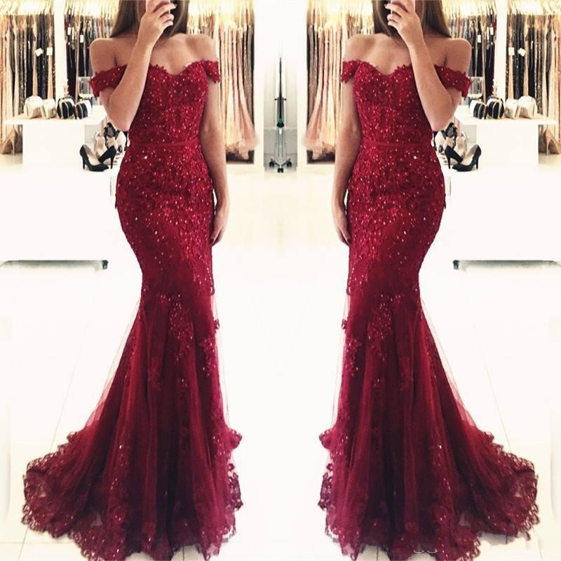 Vestido De Festa Off The Shoulder Mermaid Burgundy Lace Bridemaid Dresses Beaded Applique Formal Prom Party Gowns