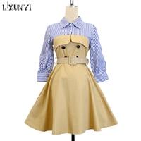 LXUNYI New Formal Lady 2 Fake Dress Shirt Women 2019 Belt A Line Dresses Formal Double Breasted Office Midi Dress Lady Work 2XL