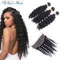 Malaysian Deep Wave With Frontal Grade 8A Malaysian Virgin Hair With Frontal Closure Malaysian Curly Hair With Frontal Closure