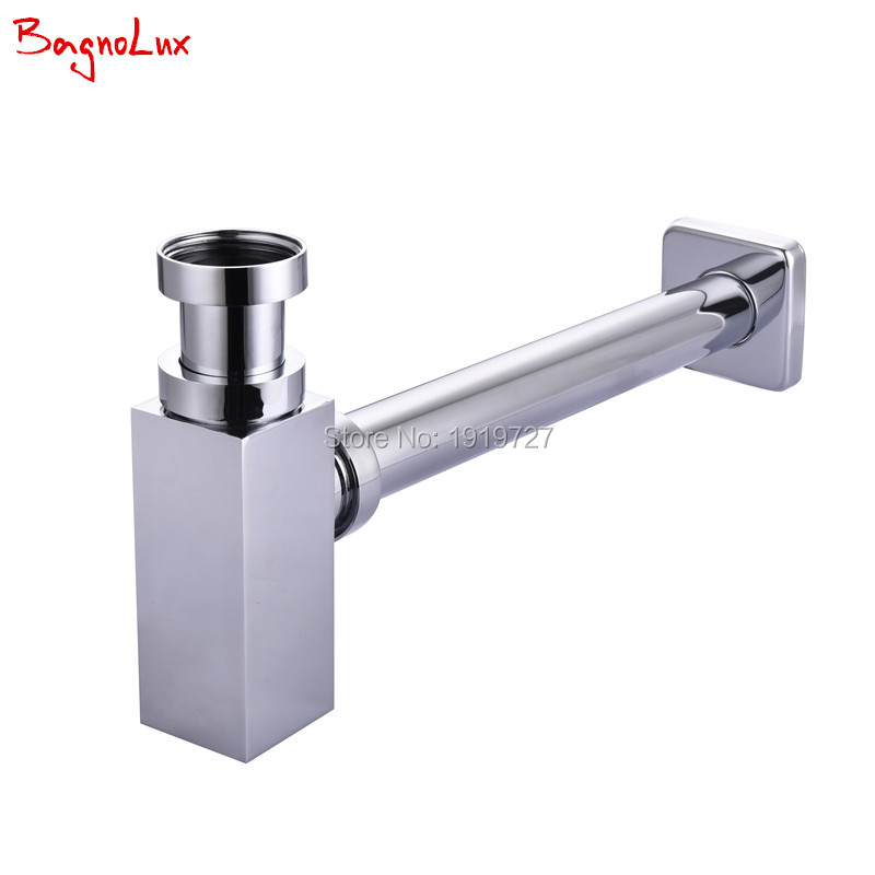 Bagnolux High Quality New Arrival Promotions Bathroom Basin Sink Tap Bottle Trap Drain Kit Waste Square Style P-TRAP, TST-3500 golden bathroom basin sink tap bottle pop up waste trap drain square p trap kit set brass 11 095