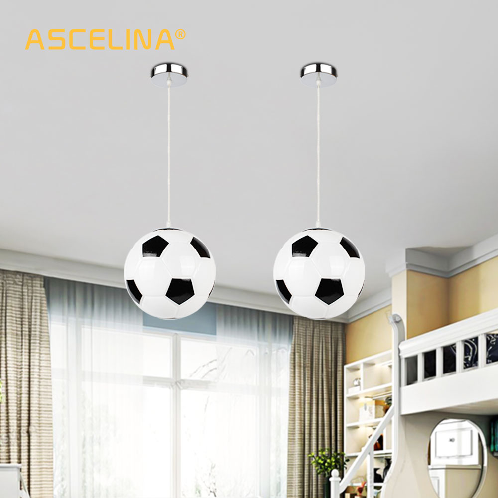 Us 37 99 30 Off Fussball Anhanger Licht Fur Kreative Kinder Schlafzimmer Lichter Balkon Led Lampe Drop Licht E27 Schlafzimmer Lampenschirm Abendessen
