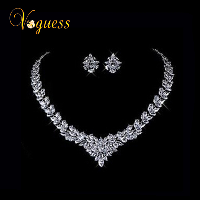 VOGUESS Luxury Blue Crystal Jewelry Set White Gold Plated AAA Zircon Crystal Beads Statement Jewelry Set Bridal Wedding Jewelry