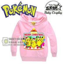 Presente de natal Meninos Meninas Impressão Moletom Pikachu Crianças Casaco Esporte Hoodies Crianças Casacos Vestuário Outono Inverno 2016