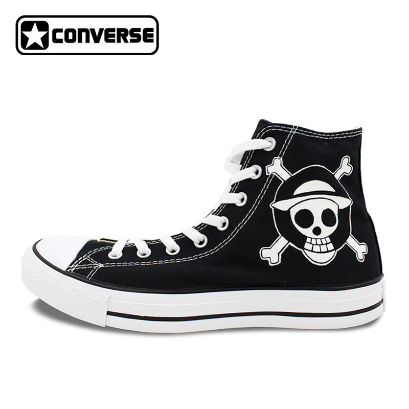 Skull Converse All Star Anime Shoes One Piece Luffy Jolly Roger Hand Painted Sneakers Men Women High Top Black Canvas Shoes mens converse shoes custom hand painted hunger game high top black canvas sneakers unique presents