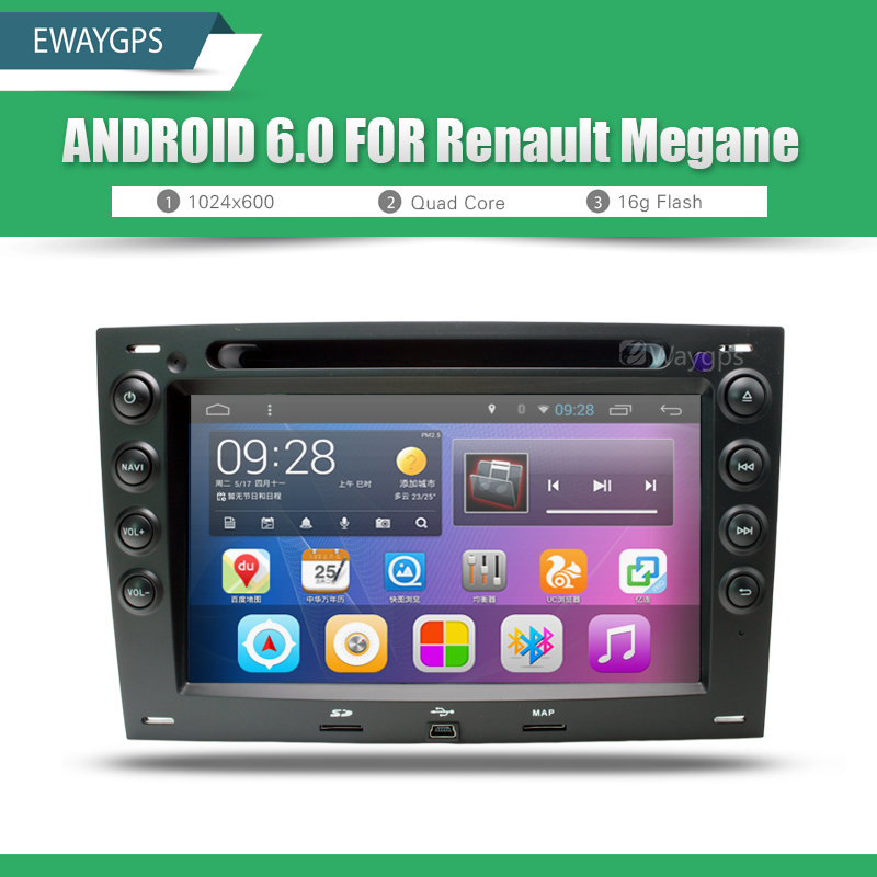 android 6 0 quad core car dvd radio player bluetooth steering wheel for renault megane gps. Black Bedroom Furniture Sets. Home Design Ideas