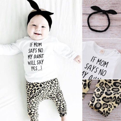 2136b875695 3PCS Newborn Infant Baby Girls Clothes long sleeve print letter T Shirt Top+Leopard  Pants Leggings+Headband Outfit clothes set