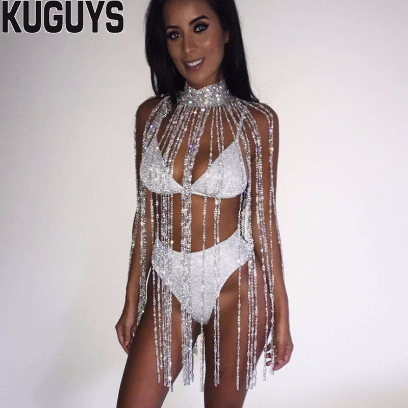 KUGUYS Fashion Silver Crystals Long Tassel Belly Chains Women Sexy Breast Chain Trendy Body Jewelry Dancers Clothing Accessories silver double layered tassel body chain