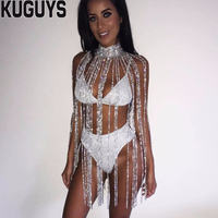 KUGUYS Fashion Silver Crystals Long Tassel Belly Chains Women Sexy Breast Chain Trendy Body Jewelry Dancers Clothing Accessories