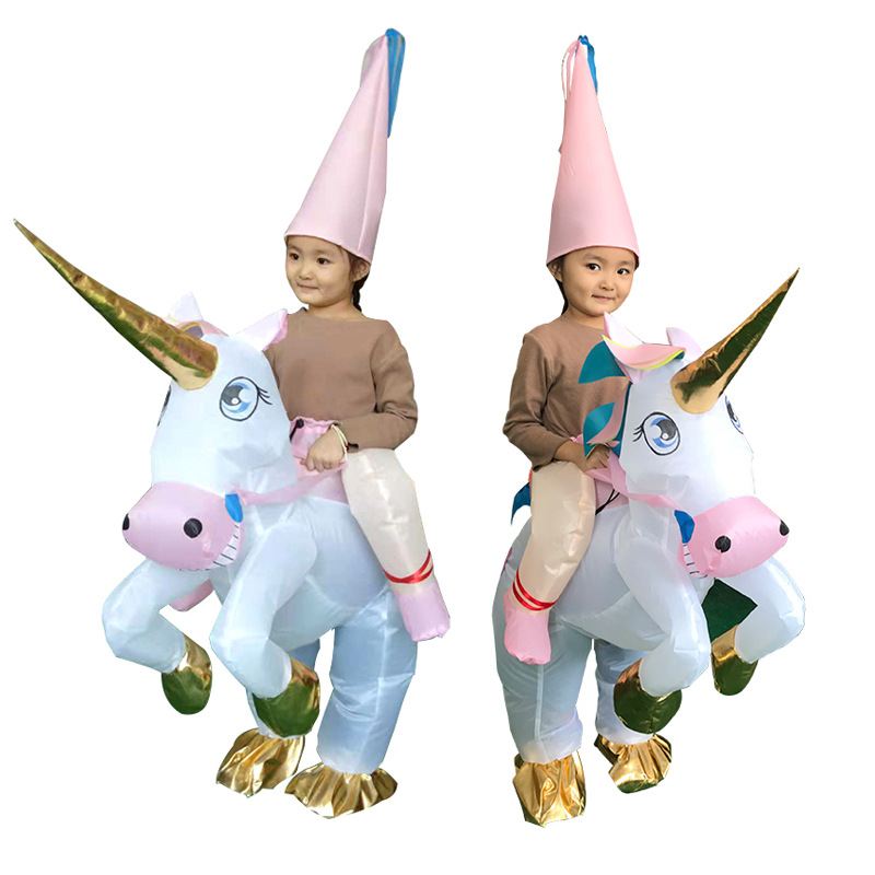 2019 New Boys Girls Inflatable Costume Unicorn Funny Animal Cosplay  Mascot Fancy Waterproof Halloween Party Suit Child Jumpsuit