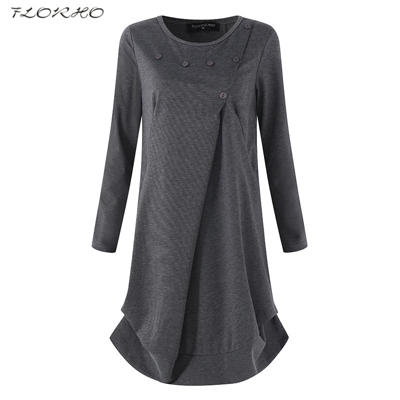 FLORHO Women Long Sleeve Dress Casual O Neck Solid Button Fashion Ladies A-line Dresses Vestidos Loose Pullover Plus Size Autumn