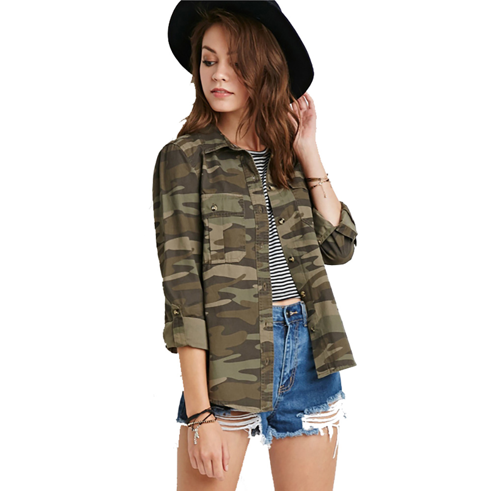 Green Camouflage Pockets   Basic     Jacket   Women Casual Sheath Disposition Outerwear Loose Streetwear Vogue Ladies Coat