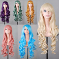 Harajuku Anime Long Curly Wave Synthetic Party Lolita Wigs for Cosplay 80cm brown/yellow/green/purple/blue/sliver/gold/ Peruca