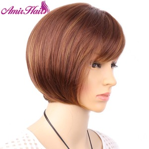 Image 2 - Aimr自然かつらストレート人工毛かつらコスプレショート耐熱ボブブロンド茶色混合色オンブルpelucasかつら
