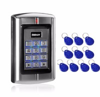 Sebury BC 2000 125KHz RFID EM ID Card Metal Stand alone Access Control Keypad+ 100pcs Keyfob Token tags