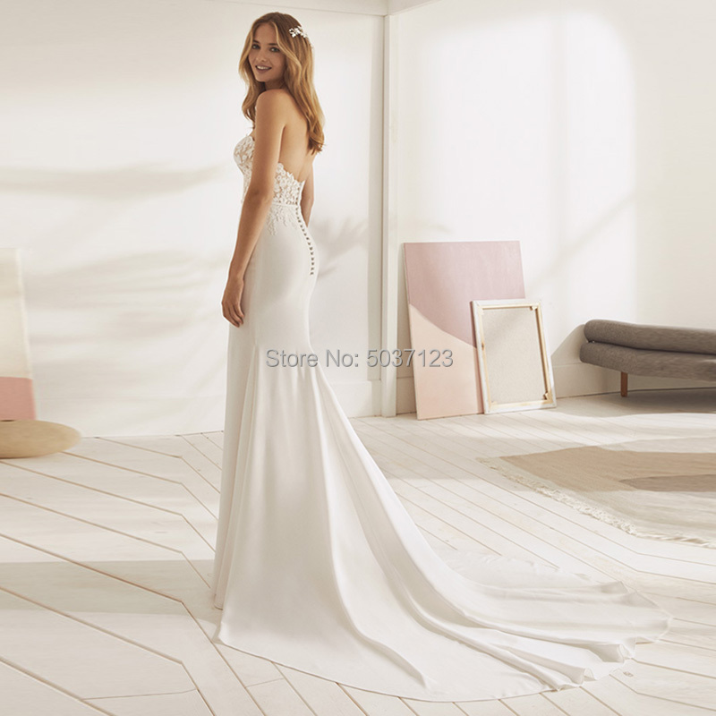 Image 2 - Beach Mermaid Wedding Dresses 2019 Sweetheart Appliques Lace Button Backless Wedding Bridal Gown Vestido De Noiva Plus Size-in Wedding Dresses from Weddings & Events