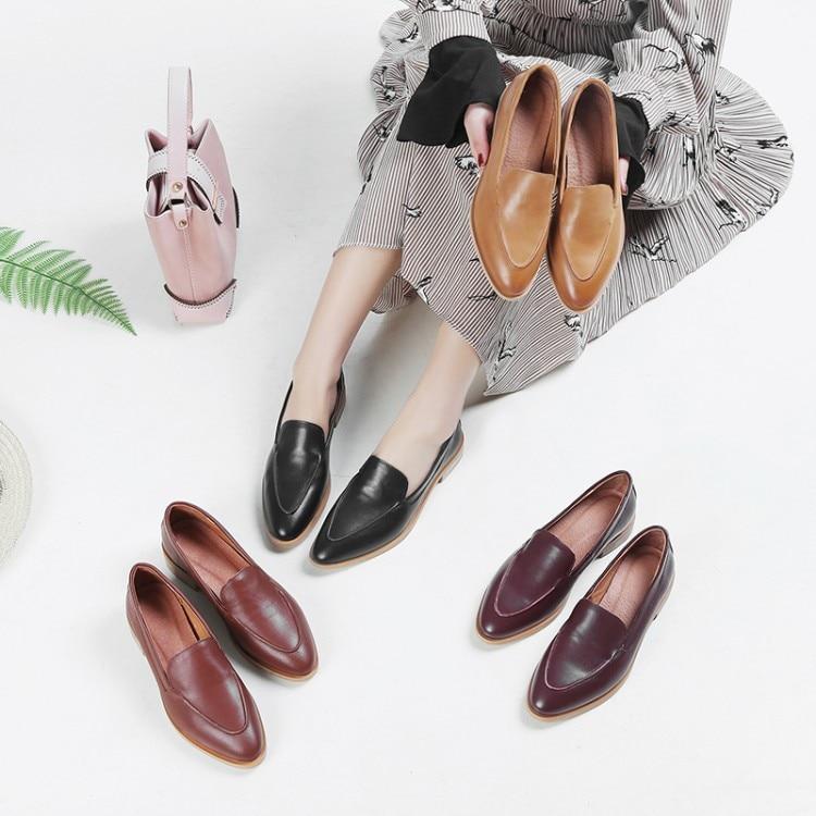 Zapatos marrón Alta Punta amarillo Tacones 2018 Bajo Negro Damas Mujer Genuino Cuero Moda Nuevo De Marca vino Tinto Tacón {zorssar} Ocio 8fPwqTqS