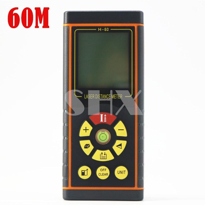 60M Digital Laser distance meter Laser Rangefinder Laser Range finder measure Distance/Area/Volume Level Tool  цены