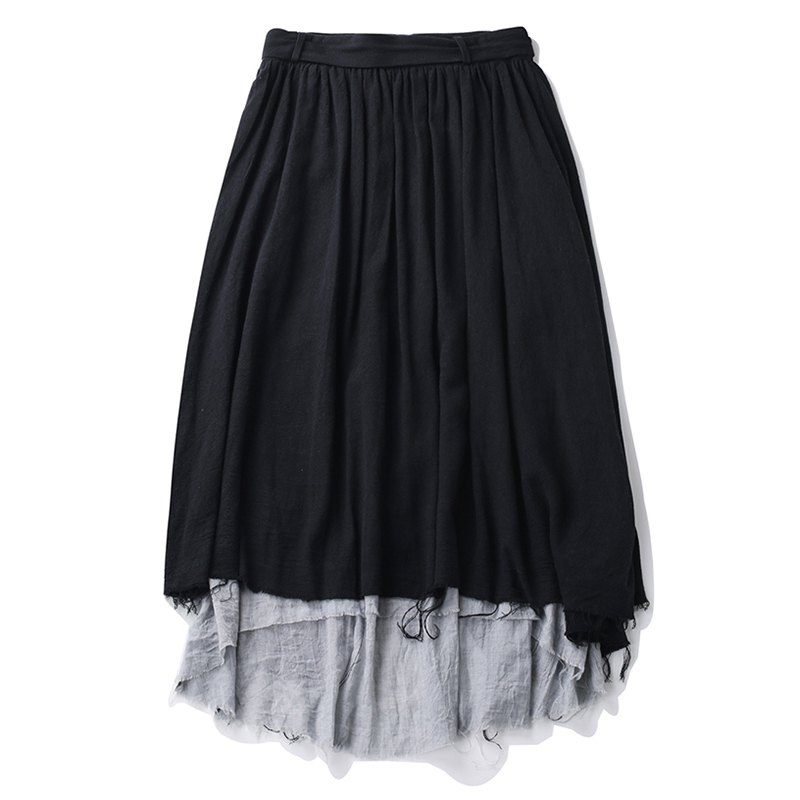 Otoño De Alta Remiendo Midi Gran Casuales Moda La Chicever Cintura Falda Sueltan Vendimia Borla Femenina Asimétrico Black Mujeres Faldas Tamaño wZRnq5S