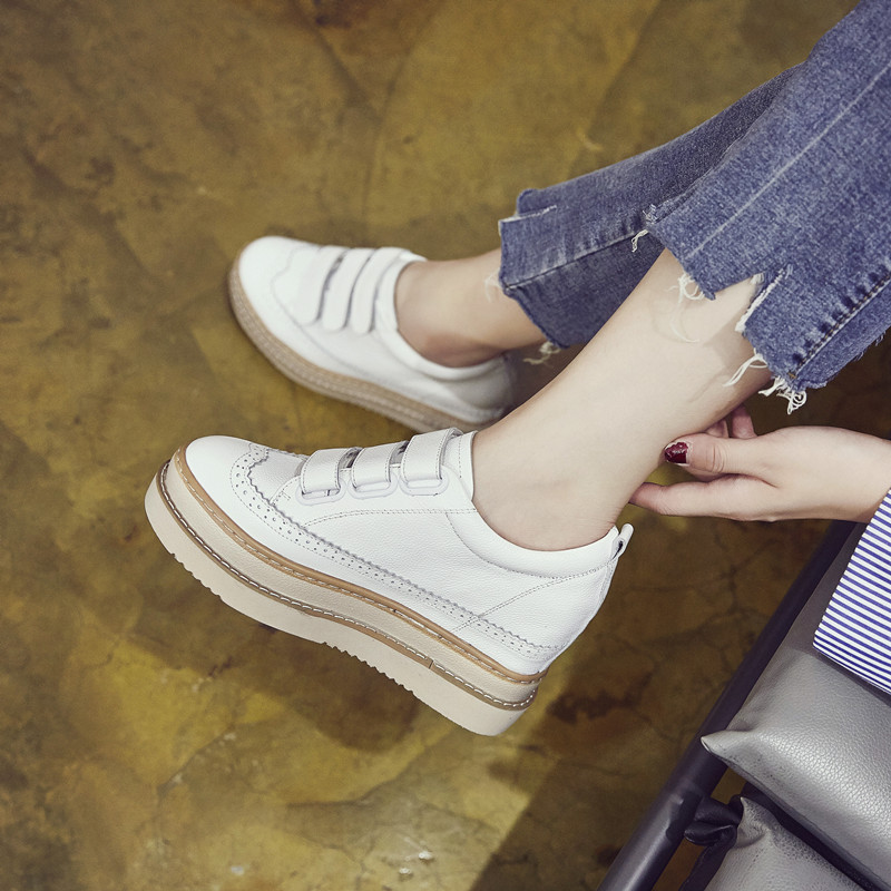 SWYIVY Chaussures Leather Casual Shoes Woman Sneakers Femme 2019 Winter Platform White Sneakers For Women Hook Loop Ladies Shoe
