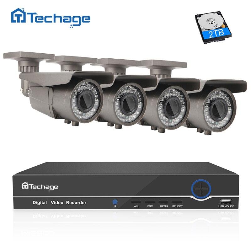 imágenes para Techage 4CH 1080 P 48 V POE NVR 8CH Sistema CCTV 2.8-12mm Lente de Distancia Focal Variable de Zoom IP 2MP Cámara Principal de Vigilancia de Seguridad Al Aire Libre Kit