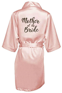 Image 5 - new bride bridesmaid robe with white black letters mother sister of the bride wedding gift bathrobe kimono satin robes