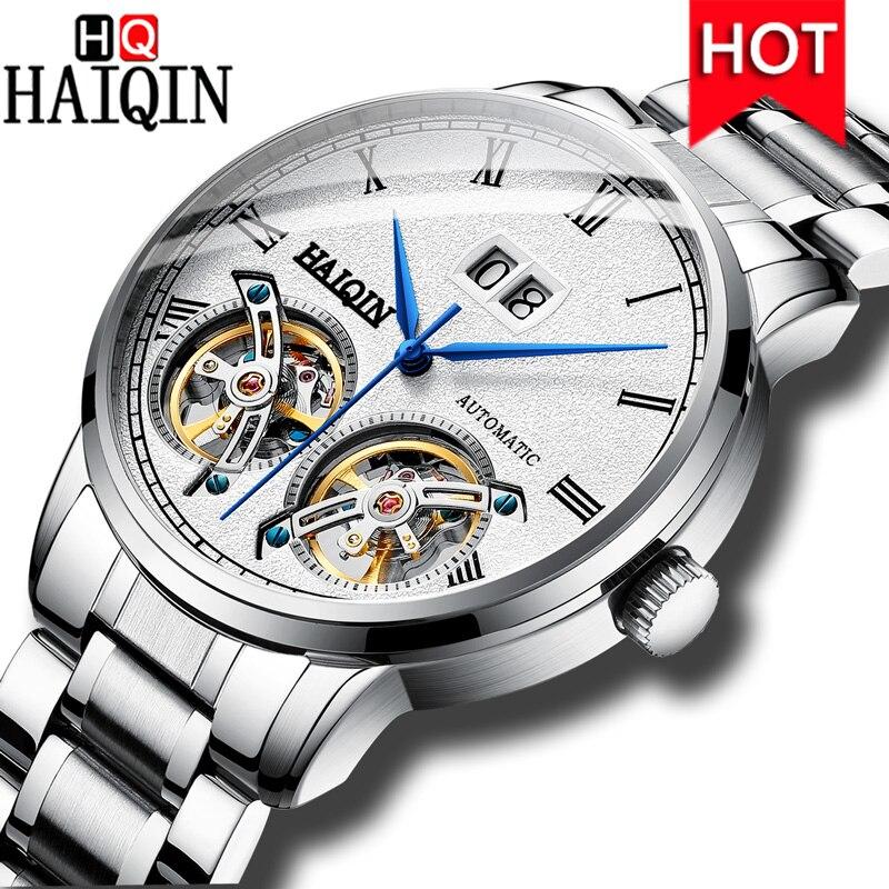 Relojes de hombre HAIQIN automático/mecánico/impermeable/deportes/oro/militar/reloj de marca superior para hombre reloj de negocios de lujo Masculino-in Relojes mecánicos from Relojes de pulsera    1