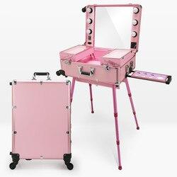 Artista profissional Estúdio de Maquiagem Caso Cosméticos Train Table w/4 Rolling Rodas & Luz & Tabela do Espelho Espelho de Maquiagem Portátil cômoda