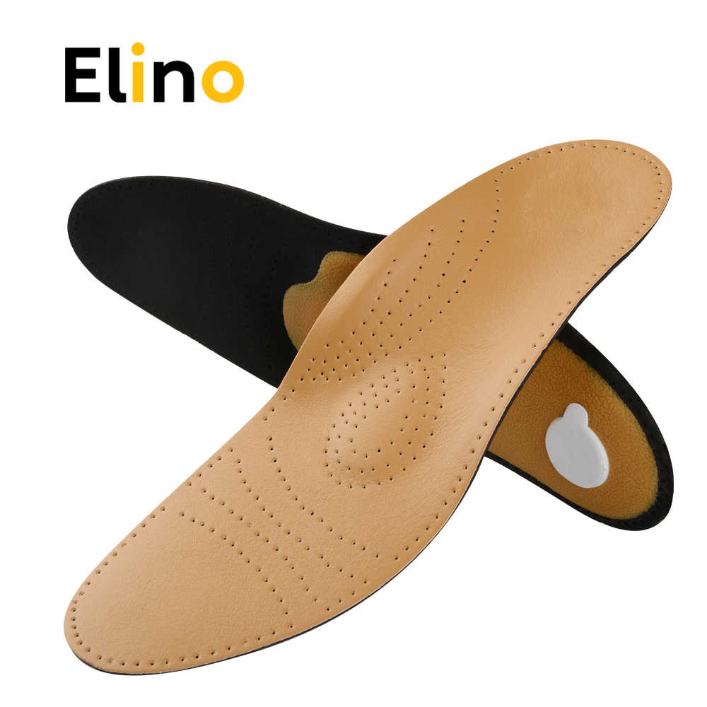 11adf2aa5d Elino Leather Orthotics Shoes Insole Men Women Flat Foot Correct Arch  Support Orthopedic Mat Insoles For