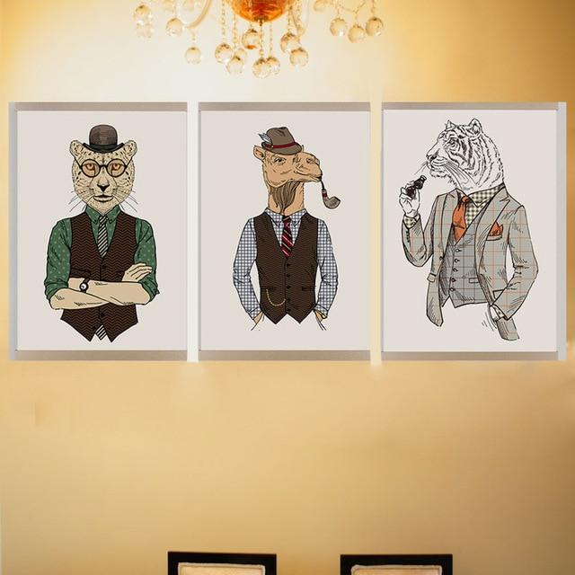 Modern Hippie Wall Art Fashion Animal Drawing Canvas Frameless ...
