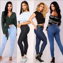 b67579d8e750cc 2019 Nuovi Jeans di Modo Delle Donne di Alta Vita del Tasto Dei Jeans Donne  Casual Sexy Sottile Elastico Skinny Pantaloni Della .