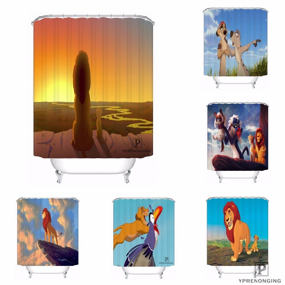 Lion King Cartoon Animals Waterproof Fabric Shower Curtain Set Bathroom /& Hooks