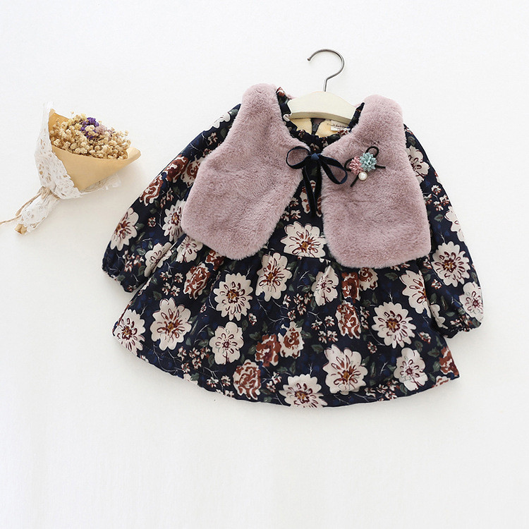 Girls Winter Clothes Thickened Cotton Floral Dress + Faux Fur Vest Set Fashion Warm Baby Girl Winter Clothes For Kids1000