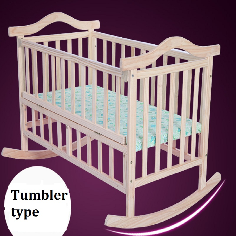 Bed game bed dual-use solid wood lacquered baby baby cradle bed children do not fall bed set, цена и фото