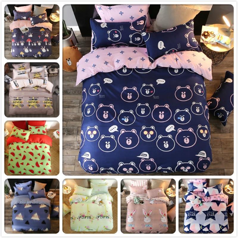 3/4 pcs Bedding Set 4/5/6 feet Bed Linen 1.5m 1.8m 2m 2.2m Bedsheet King Queen Twin Double Single Size Duvet Cover Kids Bedlinen